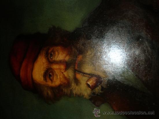 Arte: pintura al oleo señor con barba y pipa firmado oller - Foto 8 - 32475840