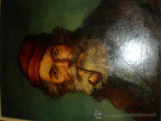 Arte: pintura al oleo señor con barba y pipa firmado oller - Foto 3 - 32475840