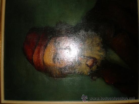 Arte: pintura al oleo señor con barba y pipa firmado oller - Foto 7 - 32475840