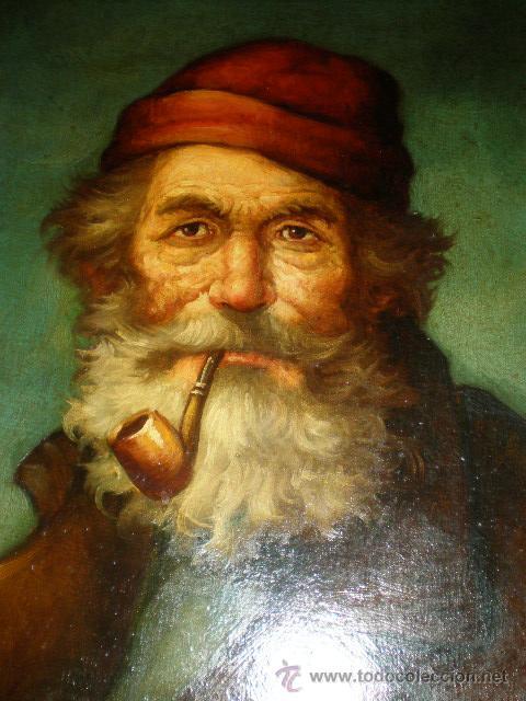 Arte: pintura al oleo señor con barba y pipa firmado oller - Foto 5 - 32475840