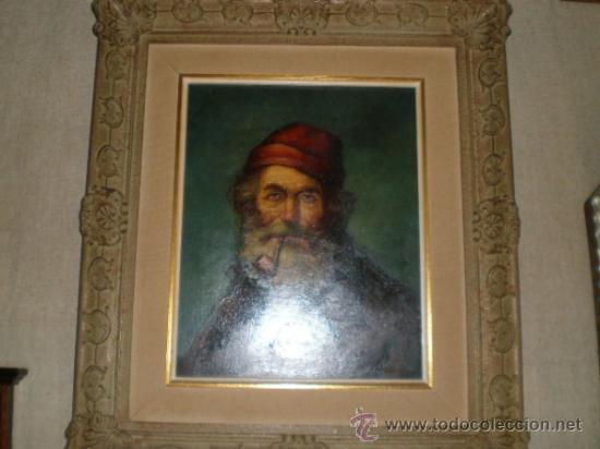Arte: pintura al oleo señor con barba y pipa firmado oller - Foto 2 - 32475840