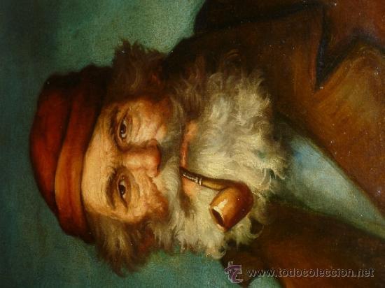 Arte: pintura al oleo señor con barba y pipa firmado oller - Foto 27 - 32475840