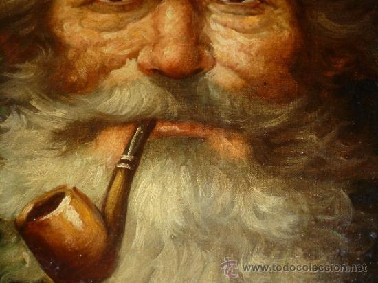 Arte: pintura al oleo señor con barba y pipa firmado oller - Foto 25 - 32475840