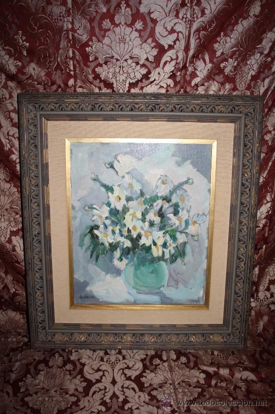 B1-005. O/L REPRESENTANDO BODEGÓN DE FLORES FIRMADO ANTOINETTE PASTECCHI EN SITGES AÑO 75 (Arte - Pintura - Pintura al Óleo Contemporánea )