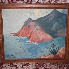 Arte: A2-064 O/T - FIRMADO GUILLEM PALAU DEDICADO A PERE ELIAS I BUSQUETA TEMA COSTERO 1949. Lote 32657739