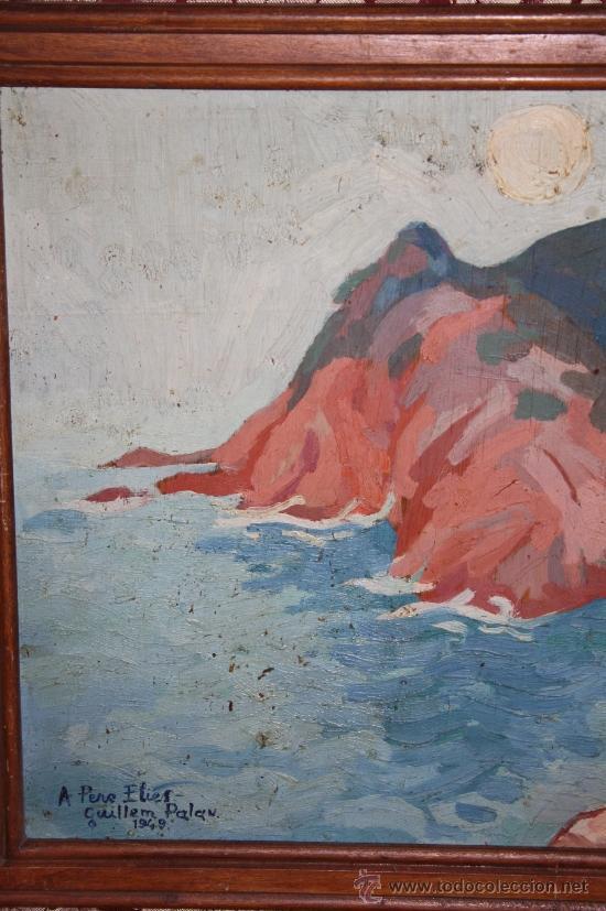 Arte: A2-064 O/T - FIRMADO GUILLEM PALAU DEDICADO A PERE ELIAS I BUSQUETA TEMA COSTERO 1949 - Foto 2 - 32657739
