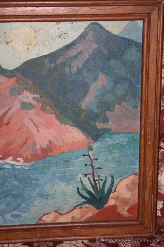 Arte: A2-064 O/T - FIRMADO GUILLEM PALAU DEDICADO A PERE ELIAS I BUSQUETA TEMA COSTERO 1949 - Foto 3 - 32657739