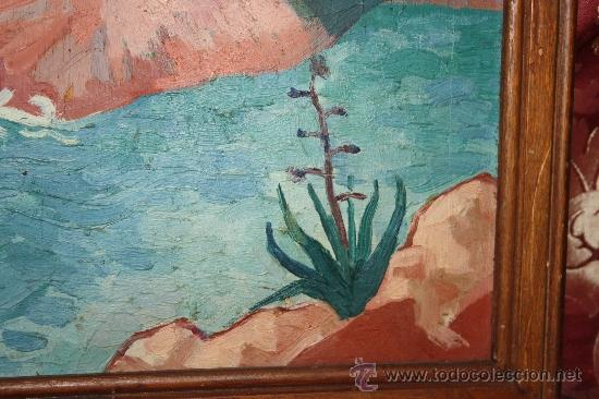 Arte: A2-064 O/T - FIRMADO GUILLEM PALAU DEDICADO A PERE ELIAS I BUSQUETA TEMA COSTERO 1949 - Foto 5 - 32657739
