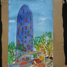 Arte: BARCELONA TORRE AGBAR CON CHICA DE CRESPO. Lote 32817318