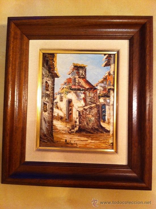 Cuadro de pintura al leo de casas antiguas con comprar for Marcos para pinturas