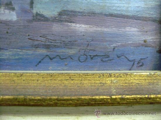 Arte: OLEO SOBRE TABLA (1975) DE ASTURMORAN NOCTURNO DE AVILES ASTURIAS. FIRMA MORAN - Foto 3 - 33022052