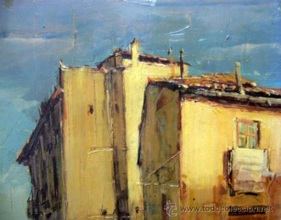 OLEO A ESPATULILLA, FRANCISCO MIR BELENGUER, VALENCIA, BARRIO VELLUTERS, 1962, TABLA DE 27 X 16 CM (Arte - Pintura - Pintura al Óleo Contemporánea )