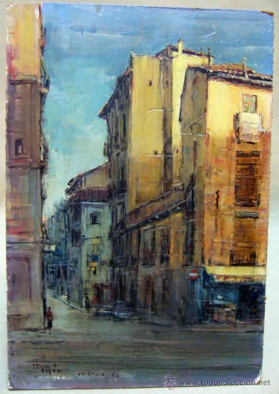 Arte: OLEO A ESPATULILLA, FRANCISCO MIR BELENGUER, VALENCIA, BARRIO VELLUTERS, 1962, TABLA DE 27 X 16 CM - Foto 2 - 33237384