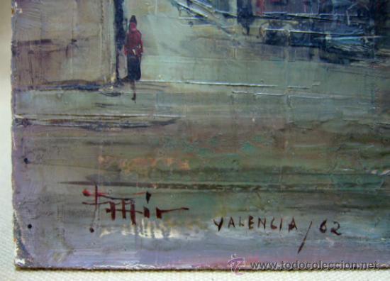 Arte: OLEO A ESPATULILLA, FRANCISCO MIR BELENGUER, VALENCIA, BARRIO VELLUTERS, 1962, TABLA DE 27 X 16 CM - Foto 3 - 33237384