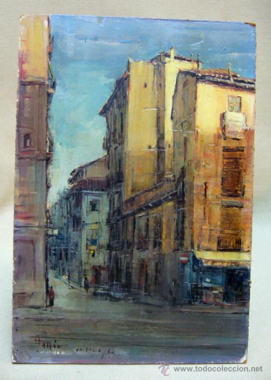 Arte: OLEO A ESPATULILLA, FRANCISCO MIR BELENGUER, VALENCIA, BARRIO VELLUTERS, 1962, TABLA DE 27 X 16 CM - Foto 6 - 33237384