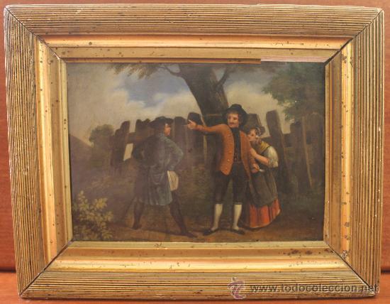 OLEO SOBRE LATA FINALES DEL XVIII PRINCIPIOS DEL XIX ESCENA POPULAR (Arte - Pintura - Pintura al Óleo Antigua siglo XVIII)