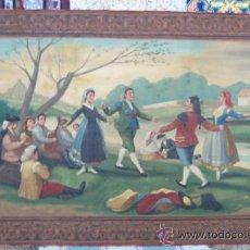 Arte: COPIA DEL BAILE A ORILLAS DEL MANZANARES DE GOYA CON MARCO SIMULADO. Lote 33387273