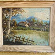 Arte: OLEO / TABLEX - FIRMADO J VALLE - PAISAJE CON CASA. Lote 33721889