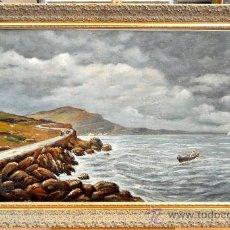 Arte: RICARD MARTÍ AGUILÓ (BARCELONA, 1868-1936) OLEO SOBRE TELA. VISTA DE MARINA. Lote 33726182