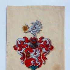 Arte: MAGISTRAL ESCUDO DE ARMAS, FINALES DEL SIGLO XVII, PAPEL VERJURADO, GRAN MINUCIOSIDAD. Lote 33780249