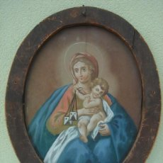 Arte: ÓLEO BAJO CRISTAL. MARCO OVALADO DE ÉPOCA -VIRGEN CON NIÑO-. ESC. BARROCA SEVILLANA S. XVIII. 53X43. Lote 33789864
