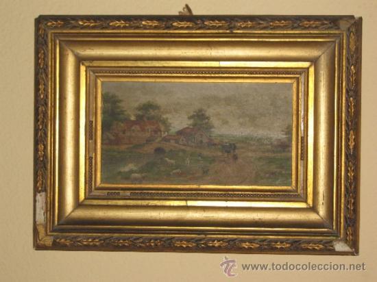 OLEO SOBRE TABLA DEL SIGLO XIX - FIRMADO - PARECE - F. MARIN - LA TABLA MIDE 10.5X18 CM - ADICIONAL (Arte - Pintura - Pintura al Óleo Moderna siglo XIX)