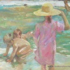 Arte: OLEO LIENZO. COPIA DE 'NIÑOS A LA ORILLA DEL MAR' JOAQUÍN SOROLLA 1903. IMPRESIONISMO,. Lote 33929195