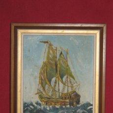 Arte: MARINA - OLEO SOBRE TABLA ENTELADA - AÑOS 50 - SIN FIRMA - CON EL MARCO 21X17. Lote 33957949