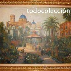 Arte: GLORIETA ANTIGUA ELCHE - PINTOR EDUARDO RODRIGUEZ SAMPER - PINTURA LIENZO OLEO - GRAN TAMAÑO -. Lote 34069191