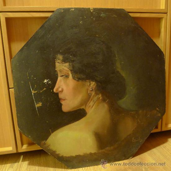 BONITA PINTURA DE ESTILO ART NOUVEAU SOBRE CARTON FIRMADA POR LEO LEUX Y DATADA EN 1924 ALEMANIA (Arte - Pintura Directa del Autor)