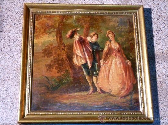 MAGNÍFICA ESCUELA ROMÁNTICA S.XIX.REENTELADO,PEGADO A TÁBLEX Y ENMARCADO EN . (Arte - Pintura - Pintura al Óleo Moderna sin fecha definida)