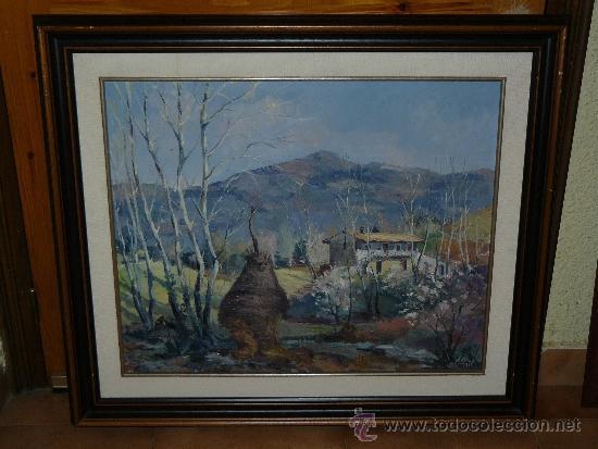 OLEO / TELA - FIRMADO J. GRAU - 1941 - PAISAJE RURAL CON CASA (Arte - Pintura - Pintura al Óleo Contemporánea )