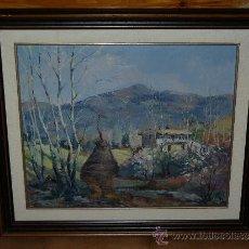 Arte: OLEO / TELA - FIRMADO J. GRAU - 1941 - PAISAJE RURAL CON CASA. Lote 34096239