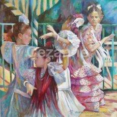 Arte: DOMINGO CORREA. ÓLEO SOBRE LIENZO 'POR SEVILLANAS' FERIA ABRIL. 80 X 80 CM.. Lote 30868925