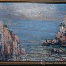 Arte: ÓLEO DE ANTONIO SÁNCHEZ CORRALIZA.(VILLANUEVA DE LA SERENA 1909-BCN 2000)POR TOSSA DE MAR 60. Lote 34226058