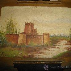 Arte: PINTURA OLEO SOBRE METAL FIRMADO POR FPR, 32 POR 20CM. Lote 34228766