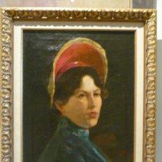Arte: BELLO RETRATO FEMENINO POR CARLOS PELLICER ROUVIERE (1865-1959). Lote 34231454