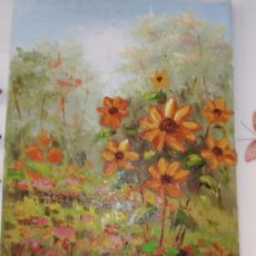 Arte: PAISAJE FLORAL PINTADO AL OLEO SOBRE LIENZO. MEDIDA 63,5X 52,5 CM. Lote 34231509