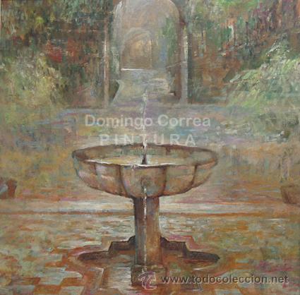 DOMINGO CORREA. 'FUENTE DEL ALCÁZAR DE SEVILLA'. ÓLEO / LIENZO. 81 X 81 (Arte - Pintura - Pintura al Óleo Contemporánea )