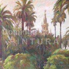 Arte: DOMINGO CORREA. ÓLEO SOBRE LIENZO 92 X 60 'GIRALDA DESDE EL ALCÁZAR' SEVILLA. PAISAJE. PINTURA.. Lote 30864255