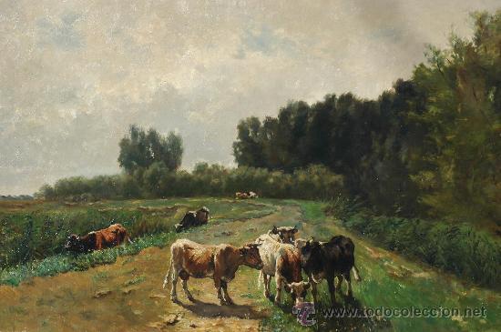 WILLEM MARIS, COWS IN A LANDSCAPE , OIL ON CANVAS (Arte - Pintura - Pintura al Óleo Moderna siglo XIX)