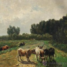 Arte: WILLEM MARIS, COWS IN A LANDSCAPE , OIL ON CANVAS. Lote 34275492