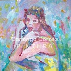 Arte: DOMINGO CORREA. OLEO SOBRE LIENZO 'LA MUJER DEL VESTIDO AMARILLO'. EXPRESIONISMO DEL COLOR.. Lote 30811378