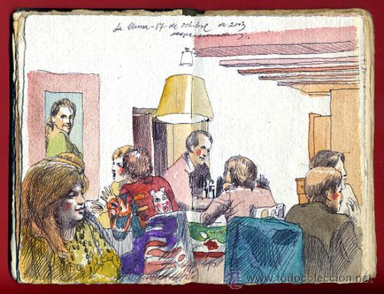 ALEGRE CREMADES , CUADERNILLO CON 3 DIBUJOS ORIGINALES , VER FOTOS ,LEER DESCRIPCION (Arte - Pintura Directa del Autor)