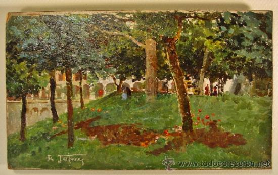 PAISAJE. ÓLEO/CARTÓN. RAFFAELE TAFURI (1857-1929). (Arte - Pintura - Pintura al Óleo Moderna siglo XIX)