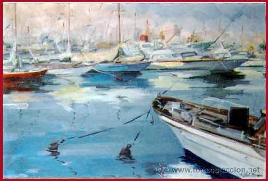 VIAL HUGAS, EDUARDO.(GERONA S.XX) -PUERTO DEPORTIVO- OLEO SOBRE LIENZO 92 X 65 CMS. ENMARCADO. FDO. (Arte - Pintura - Pintura al Óleo Moderna sin fecha definida)