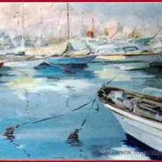 Arte: VIAL HUGAS, EDUARDO.(GERONA S.XX) -PUERTO DEPORTIVO- OLEO SOBRE LIENZO 92 X 65 CMS. ENMARCADO. FDO.. Lote 34402044