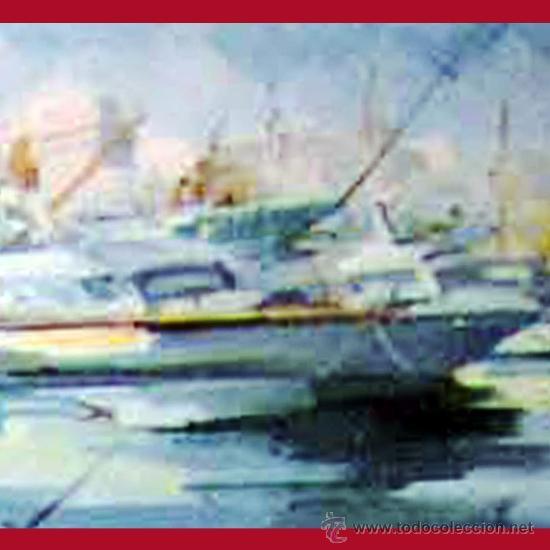 Arte: VIAL HUGAS, EDUARDO.(Gerona S.XX) -PUERTO DEPORTIVO- OLEO SOBRE LIENZO 92 X 65 CMS. ENMARCADO. FDO. - Foto 3 - 34402044