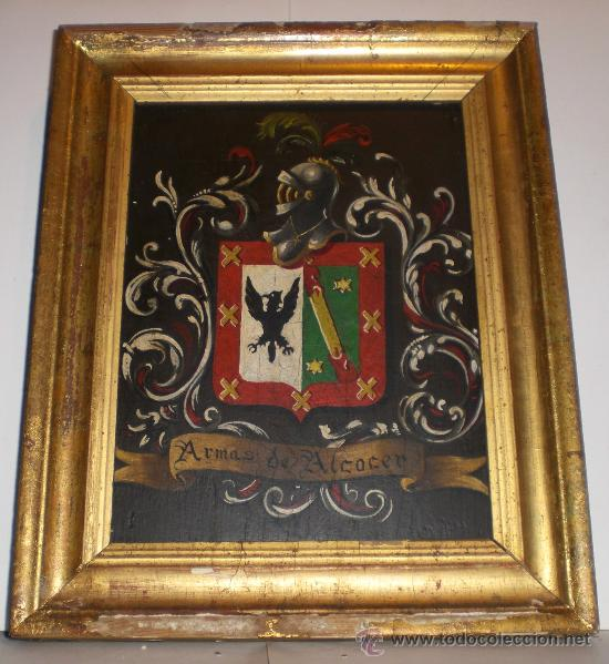ANTIGUO CUADRO DE ESCUDO DE ARMAS.OLEO SOBRE TABLA. S.XIX. ESCUDO DE ARMAS ALCOCER (Arte - Pintura - Pintura al Óleo Moderna siglo XIX)