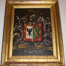 Arte: ANTIGUO CUADRO DE ESCUDO DE ARMAS.OLEO SOBRE TABLA. S.XIX. ESCUDO DE ARMAS ALCOCER. Lote 34409580